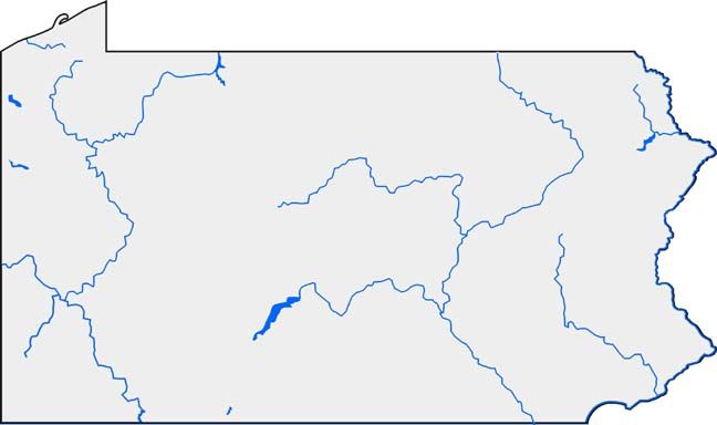 Map Pennsylvania Lakes And Rivers Activity